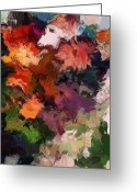 Contemporary Greeting Cards - Garden Wall Greeting Card by David Lane