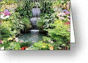Greenhouse Greeting Cards - Garden Waterfall Greeting Card by Carol Groenen