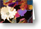 Representative Abstract Greeting Cards - Gardenia in White Greeting Card by David Raderstorf