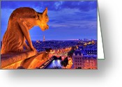 Aerial View Greeting Cards - Gargoyle De Paris Greeting Card by Traumlichtfabrik
