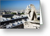Guardian Angel Greeting Cards - Gargoyle guarding the Notre Dame Basilica in Paris Greeting Card by Pierre Leclerc
