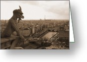 Gargoyle Greeting Cards - Gargoyle Looking Over Paris Greeting Card by Mark Currier