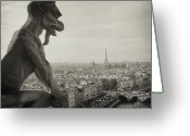 Black And White Animal Greeting Cards - Gargoyle Of Notre Dame Greeting Card by Zeb Andrews