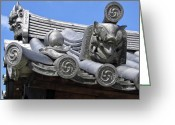 Tiled Roof Greeting Cards - GARGOYLES of HORYU-JI TEMPLE - NARA JAPAN Greeting Card by Daniel Hagerman