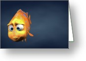 Copy-space Greeting Cards - Garibaldi Fish In 3d Cartoon Greeting Card by BaloOm Studios