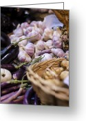 Purples Greeting Cards - Garlic At the Market Greeting Card by Heather Applegate