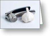 Press Greeting Cards - Garlic Press With Garlic Greeting Card by Tom Mc Nemar