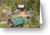 Town Painting Greeting Cards - Garnet in Montana Greeting Card by Guido Borelli