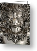 Lines Sculpture Greeting Cards - Garuda silver Greeting Card by Panupong Roopyai