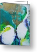 Yellow Beak Painting Greeting Cards - Garza Blanca Greeting Card by Steve Fisher
