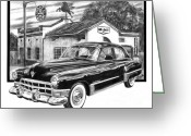 Pencil Drawing Greeting Cards - Gas Hog 41 Greeting Card by Peter Piatt