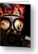 Biohazard Pyrography Greeting Cards - Gas Mask Greeting Card by Rich Chegwidden