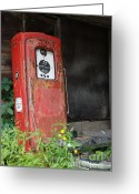 Gaspump Greeting Cards - Gas Pump Greeting Card by Danielle Ashley