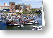 Pirate Ship Greeting Cards - Gasparilla and Harbor Island Florida Greeting Card by David Lee Thompson