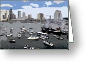 Pirates Greeting Cards - Gasparilla invasion work number 3 Greeting Card by David Lee Thompson