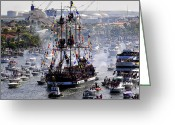 "\""pirate Ship\\\"" Greeting Cards - Gasparillas Wild Crew Greeting Card by David Lee Thompson"