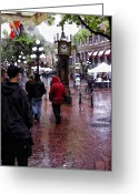 Brick Streets Greeting Cards - Gastown  Greeting Card by Diana Cox