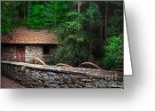 Cabin Wall Greeting Cards - Gate Keepers Home Greeting Card by Vicki Lea Eggen