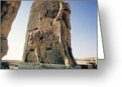 Wings Sculpture Greeting Cards - Gate of All Nations in Persia Greeting Card by Carl Purcell