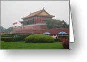Forbidden City Greeting Cards - Gate of the Forbidden City Greeting Card by Angela Siener
