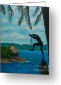 Italian Med Artist Greeting Cards - Gateway to Portofino Greeting Card by Charlotte Blanchard