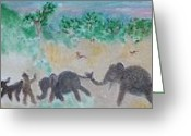 Noahs Ark Painting Greeting Cards - Gathering Earth Specimens at Twilight Greeting Card by Jay Manne-Crusoe