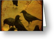 Blackbirds Greeting Cards - Gathering Greeting Card by Gothicolors With Crows