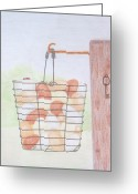 Keys Drawings Greeting Cards - Gathering the Eggs  Greeting Card by J D  Fields