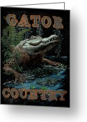 Football Painting Greeting Cards - Gator Country Greeting Card by JQ Licensing