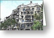 Barcelona Mixed Media Greeting Cards - Gaudi Greeting Card by Marta Budka