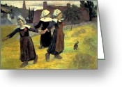 Gauguin Greeting Cards - Gauguin: Breton Girls, 1888 Greeting Card by Granger