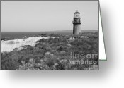 Martha Greeting Cards - Gay Head Lighthouse - Black and White Greeting Card by Carol Groenen