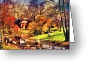 Swans Painting Greeting Cards - Gazebo in the Park Greeting Card by Jai Johnson