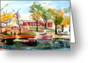 Fall Scene Greeting Cards - Gazebo Pond and Duck II Greeting Card by Kip DeVore