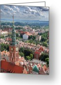 Birdseye Greeting Cards - Gdansk Greeting Card by Jaroslaw Grudzinski