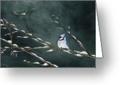 Blue Jay Greeting Cards - Geai bleu no.1 Greeting Card by Caroline Boyer