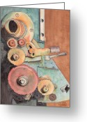 Lever Greeting Cards - Gears Greeting Card by Ken Powers