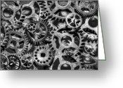 Large Clock Greeting Cards - Gears of Time Black and White Greeting Card by David Paul Murray
