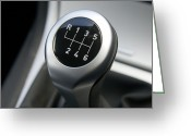 Knob Greeting Cards - Gearstick Greeting Card by Johnny Greig