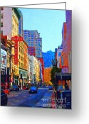 Traffic Greeting Cards - Geary Boulevard San Francisco Greeting Card by Wingsdomain Art and Photography