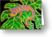 Reptiles Painting Greeting Cards - Gecko hanging on Greeting Card by Nick Gustafson