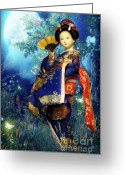 Asian Art Greeting Cards - Geisha - Combining innocence and Sophistication Greeting Card by Christine Till - CT-Graphics