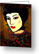 Maiko Greeting Cards - Geisha 5 Greeting Card by Natalie Holland