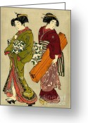 Hair Ornaments Greeting Cards - Geisha and Servant with Koto 1777 Greeting Card by Padre Art