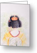 Hair Bun Greeting Cards - Geisha blossoms Greeting Card by Veena Waziri