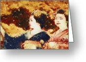 Geisha Greeting Cards - Geisha Girls Greeting Card by Deborah MacQuarrie