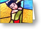 Gold Ceramics Greeting Cards - Geisha in doorway Greeting Card by Patricia Lazar