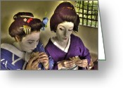 Maiko Greeting Cards - Geisha Lunch Greeting Card by William Fields