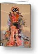 Wall Quilt Tapestries - Textiles Greeting Cards - Geisha Greeting Card by Roberta Baker