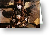 Ceremony Greeting Cards - Geisha series number 3 Greeting Card by Jeff Burgess